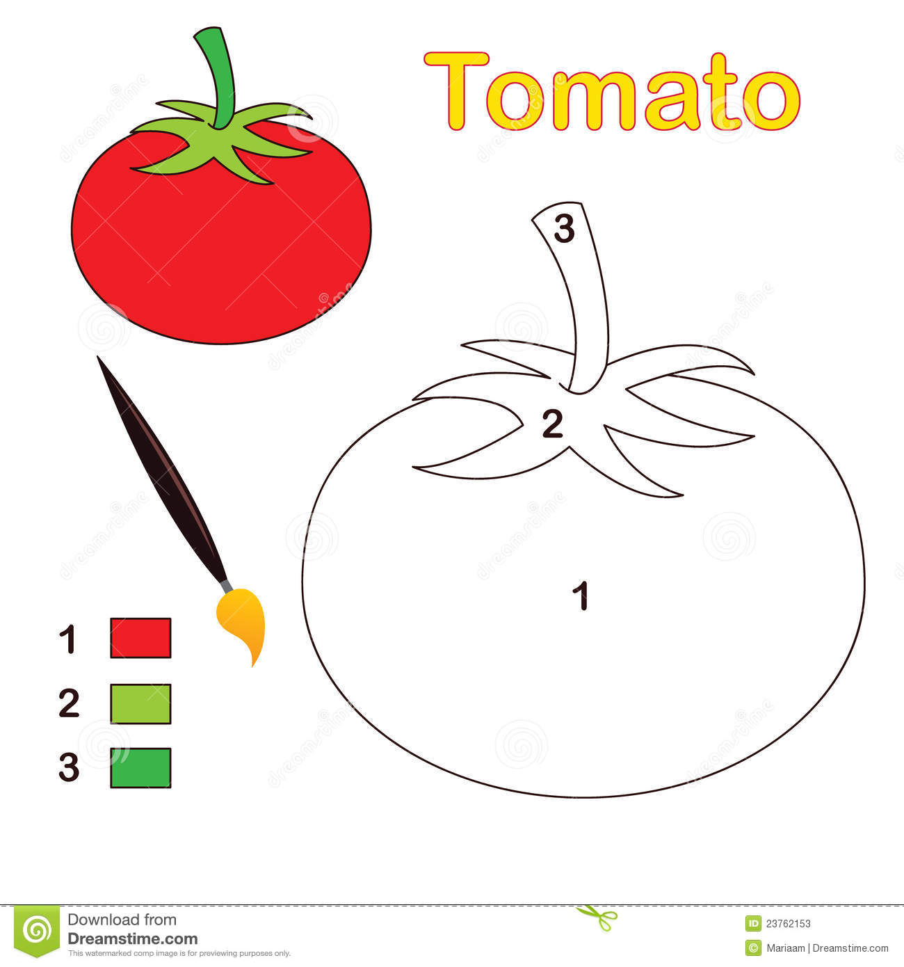 Color By Number Tomato Stock Photos