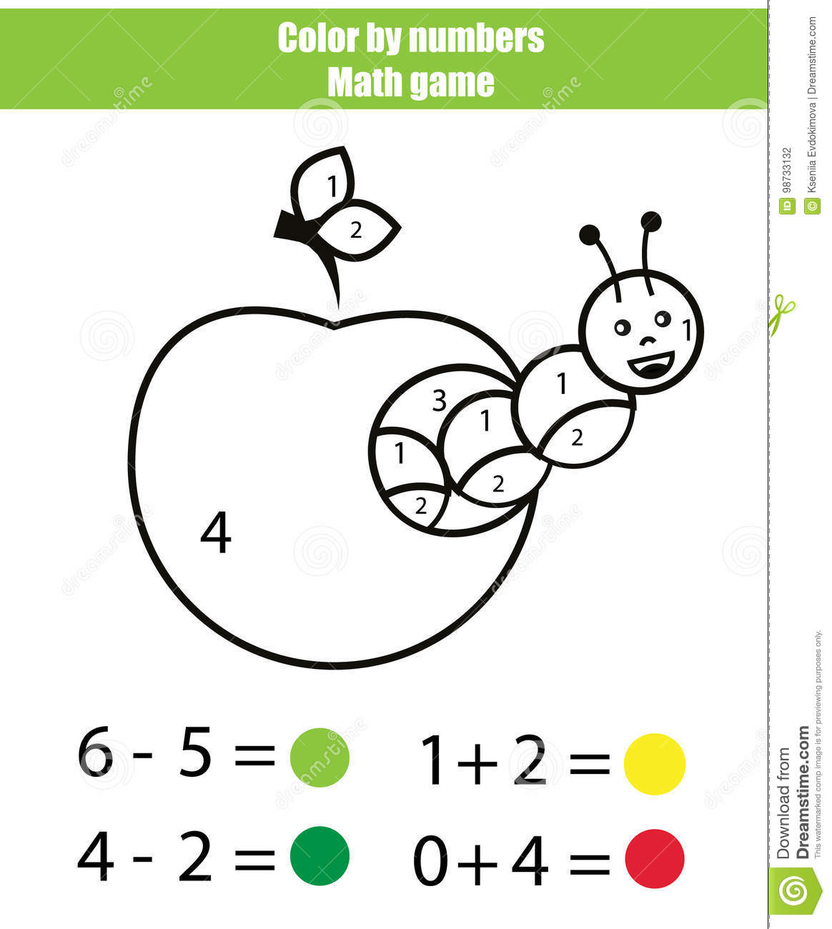 Color By Numbers Mathematics Game Coloring Page With