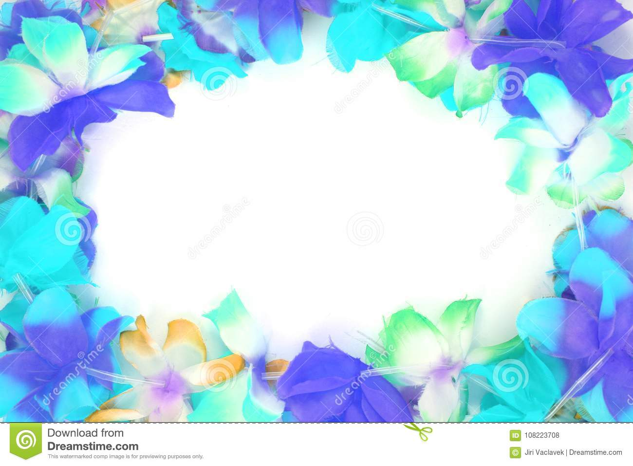 Color Plastic Hawaii Flowers Background Stock Photo