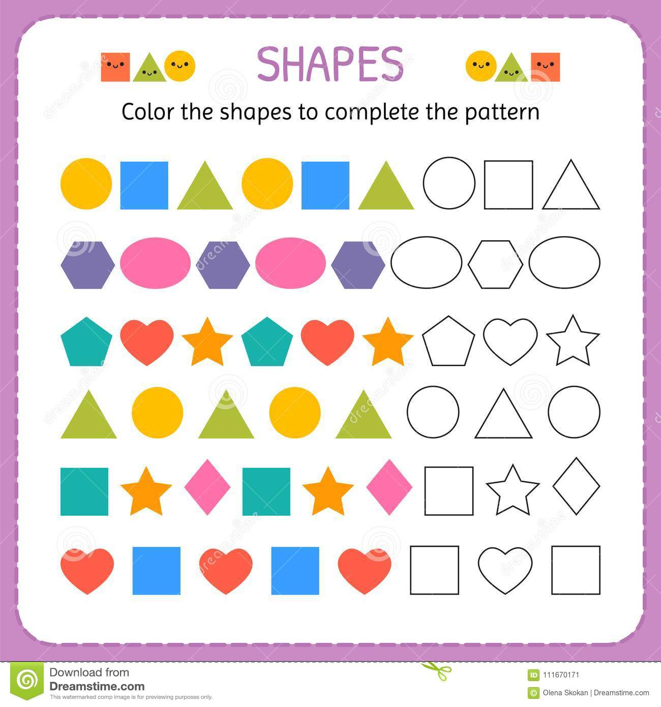 Color The Shapes To Complete The Pattern Learn Shapes And Geometric Figures Preschool Or