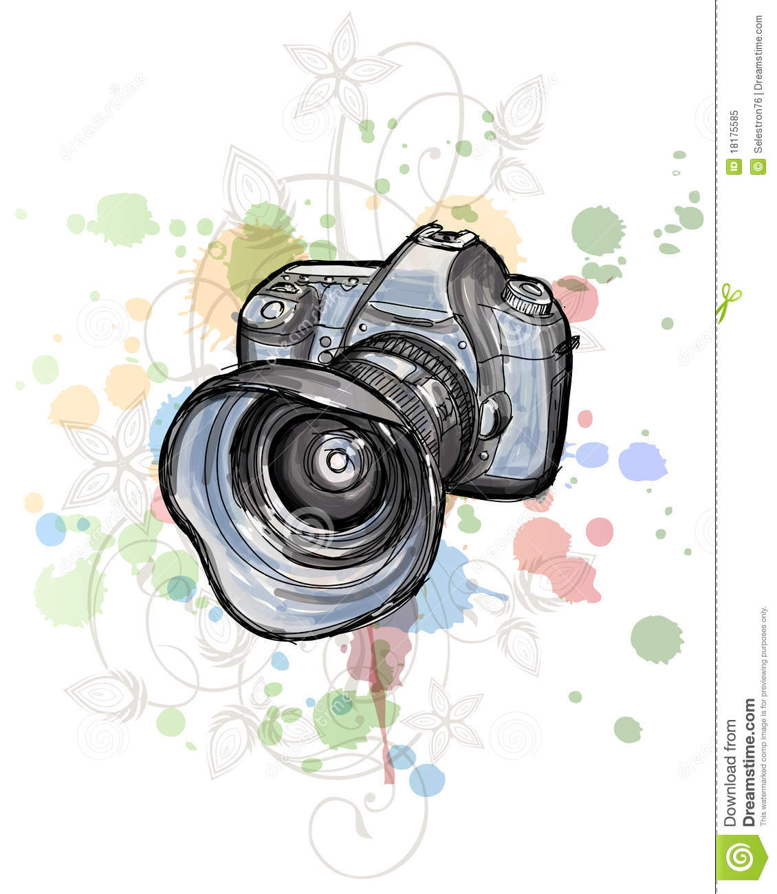 Dslr Camera With Girl Wallpaper Color Sketch Of A Digital Photo Camera Stock Vector
