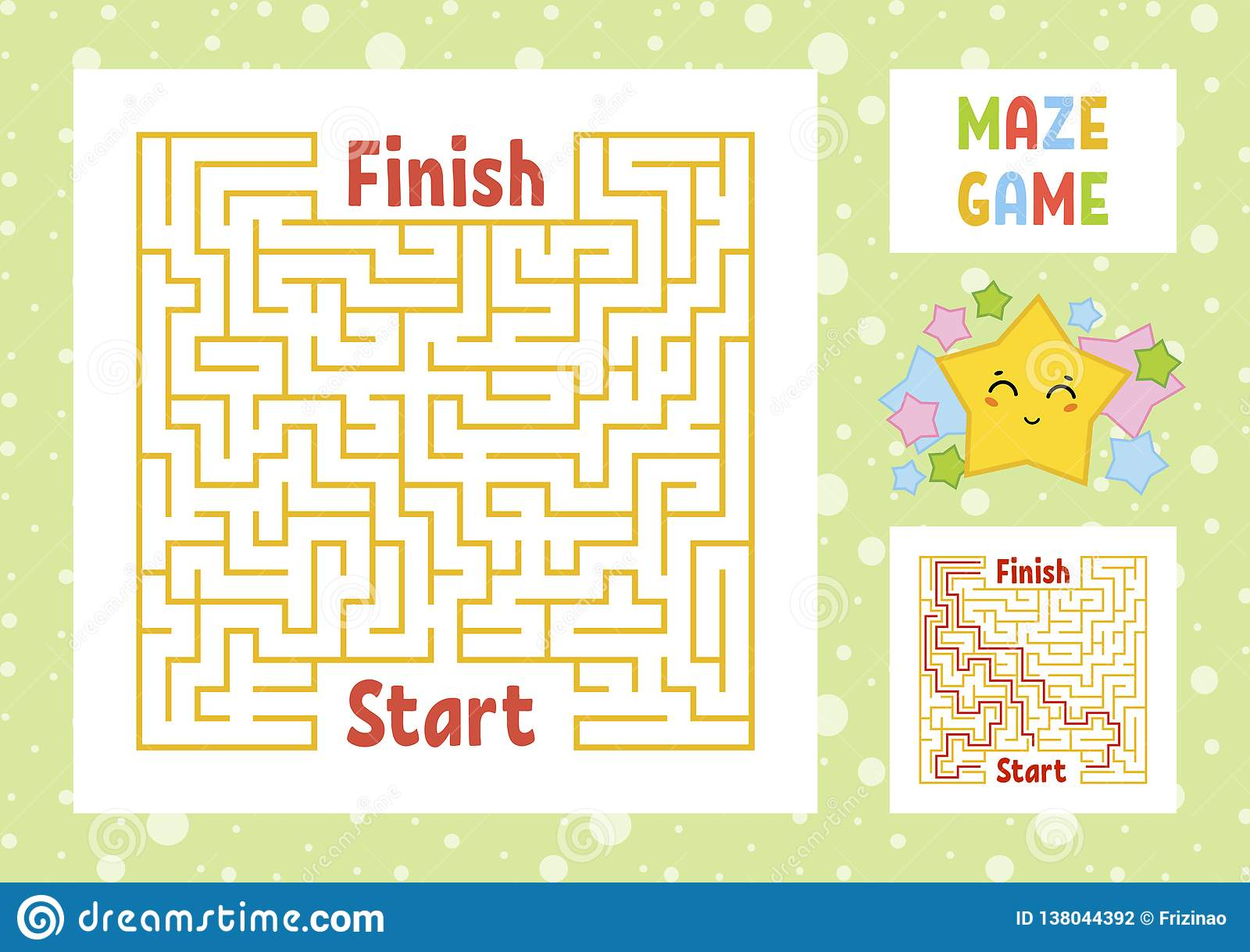 Color Square Maze Find The Right Path From Start To