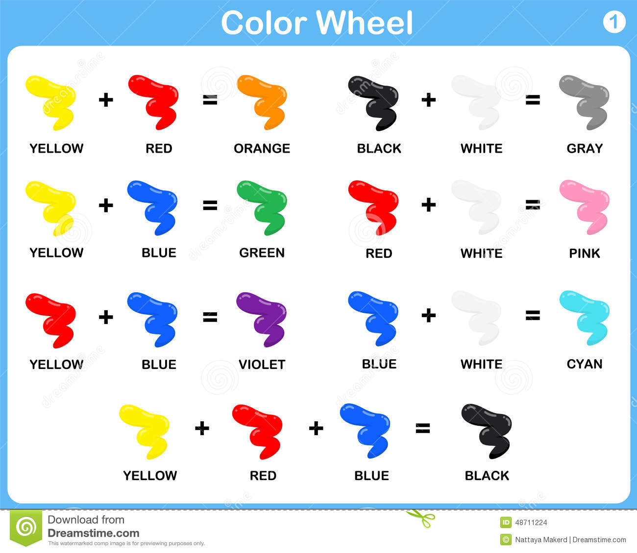 Color Wheel Worksheet For Kids Stock Vector