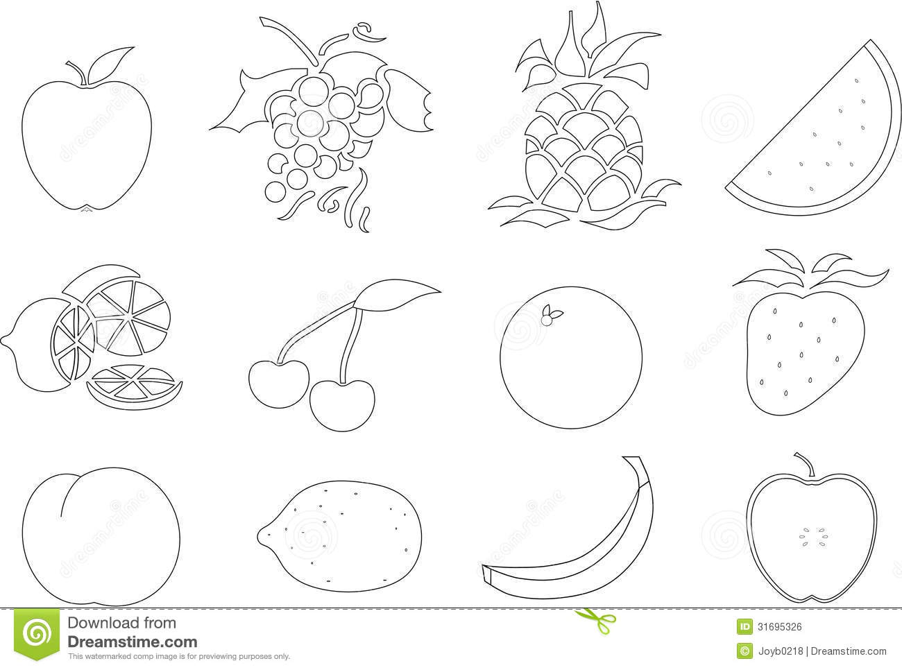 Color Your Own Fruit Stock Illustration Illustration Of