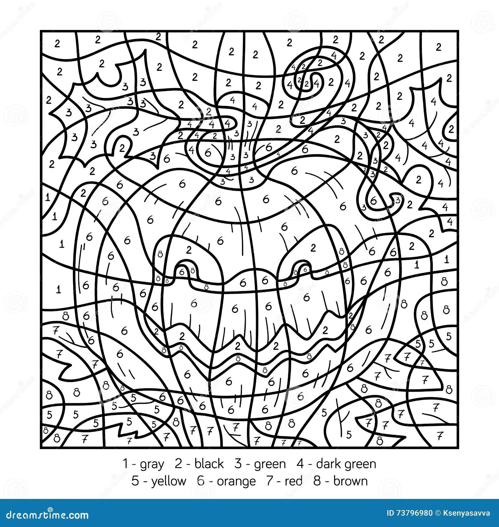Colore Dal Numero Zucca Di Halloween Illustrazione