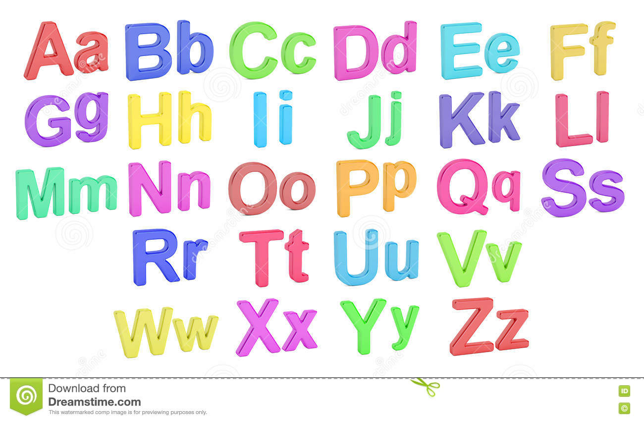 Colored Alphabet Large And Small Letters 3d Rendering
