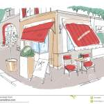 Colored Freehand Sketch Of Small Sidewalk Cafe Or Restaurant With Table Decorated With Potted Plant And Chairs Standing On City St Stock Illustration Illustration Of Plant Facade 104748095
