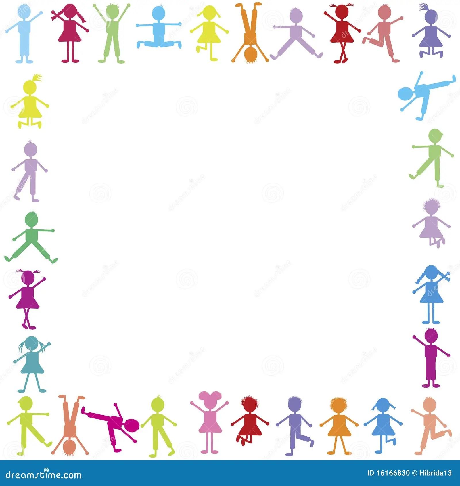 Colored Happy Children Frame Stock Illustration