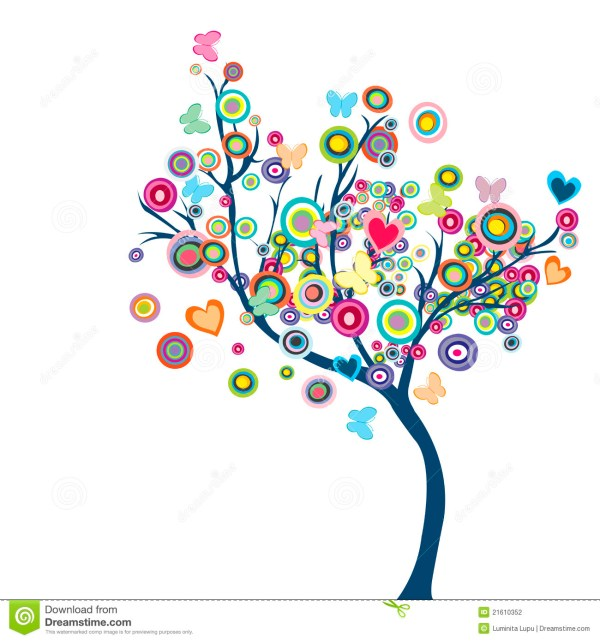 Trees Clip Art Butterflies and Flowers