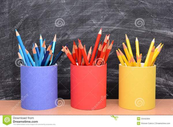 Colored Pencils In Matching Pencil Cups Stock