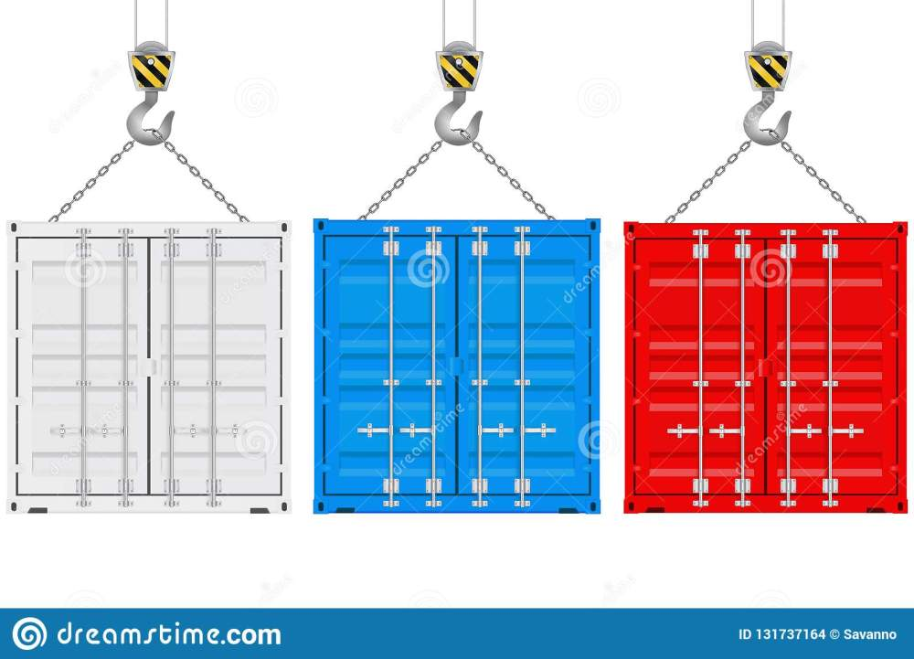 medium resolution of colored shipping containers on a crane hook