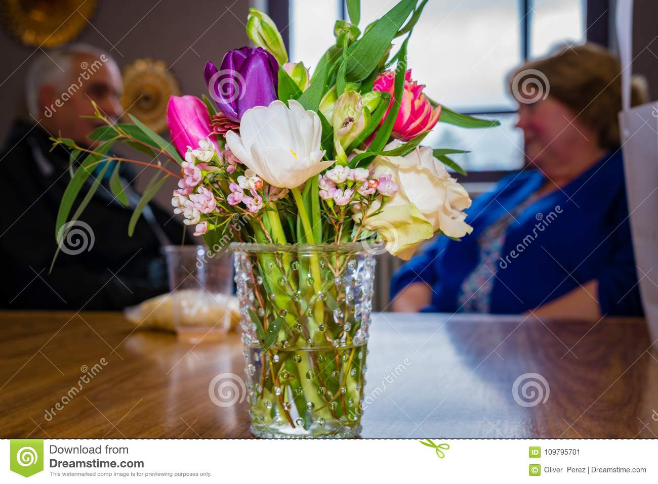 https www dreamstime com colorful assorted flower arrangement used as center piece table beautiful flower arrangement glass vase image109795701