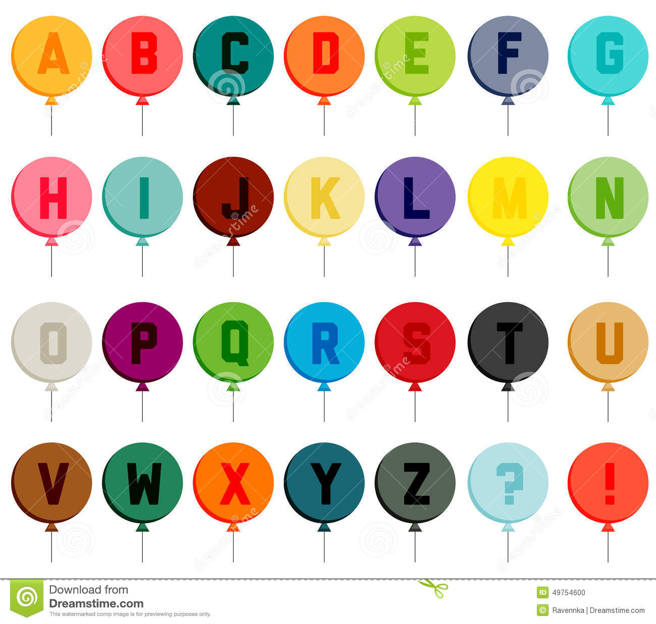 Colorful Balloon Font Stock Vector Illustration Of