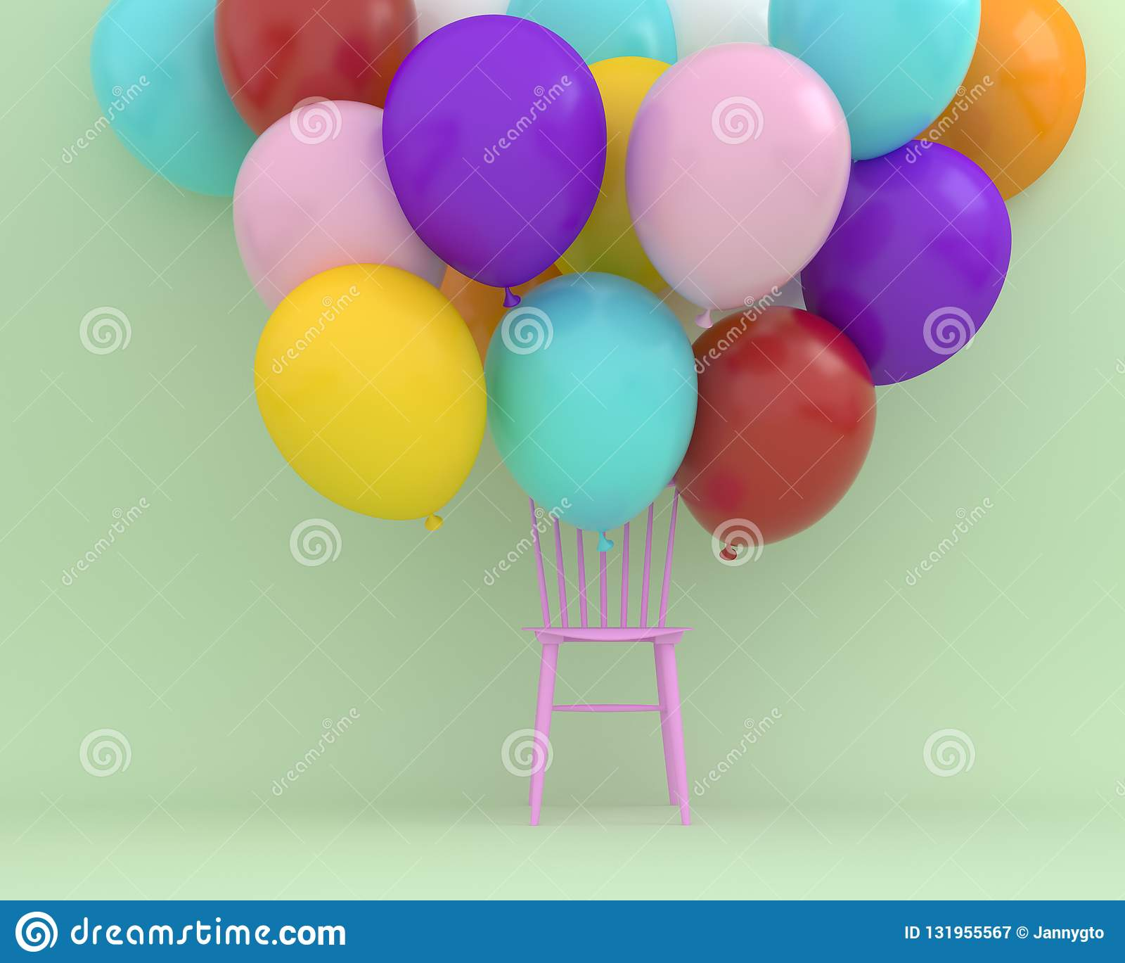 chair with balloons eames replica chairs melbourne colorful floating pink on green color background creative layout made for festival
