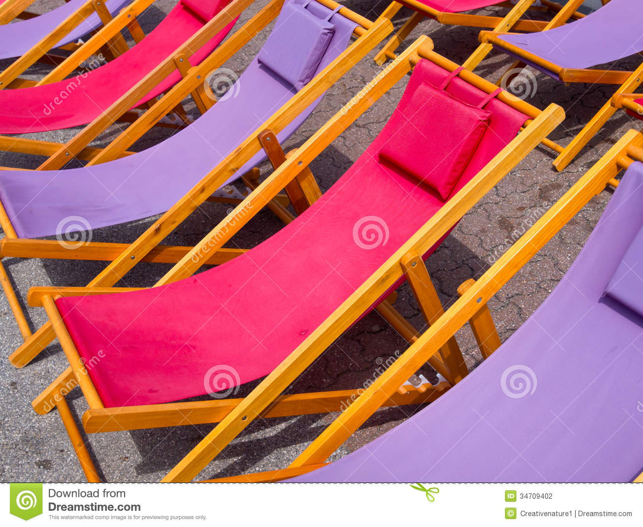 Colorful Wooden Chairs Colorful Beach Chairs Background Stock Photo Image 34709402