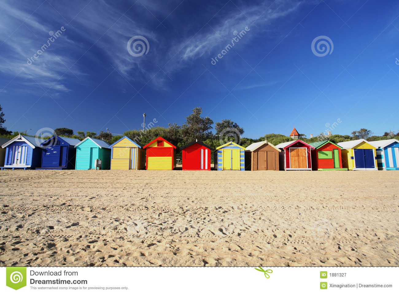 beach chairs and umbrella chiavari chair rental chicago colorful huts royalty free stock photography - image: 1881327