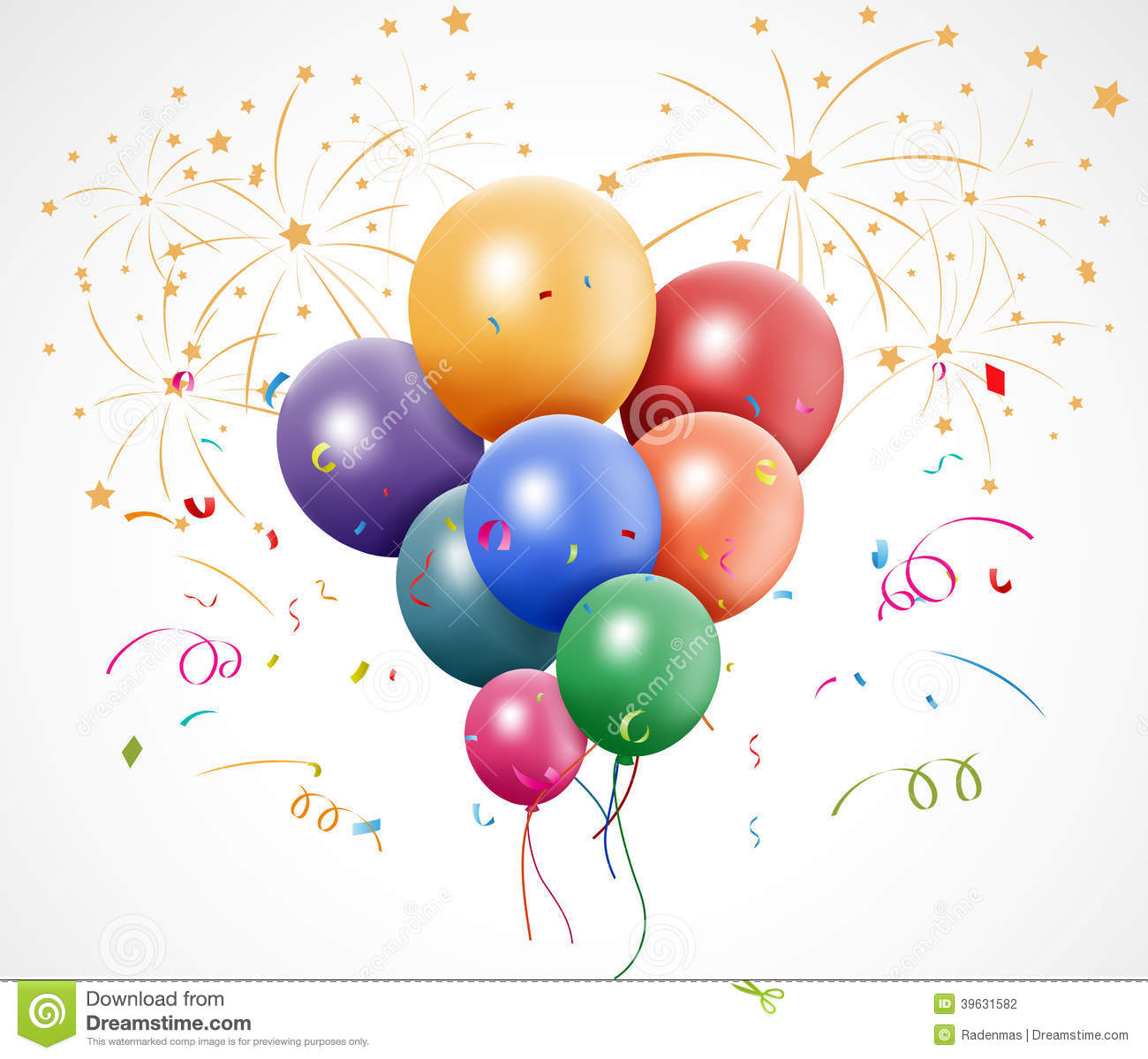 Colorful Birthday With Balloon And Fireworks Stock Vector