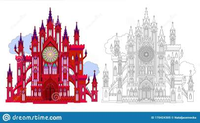Colorful And Black And White Pattern For Coloring Fantasy Illustration Of Ancient Medieval Gothic Castle Stock Vector Illustration of architecture beautiful: 170424305