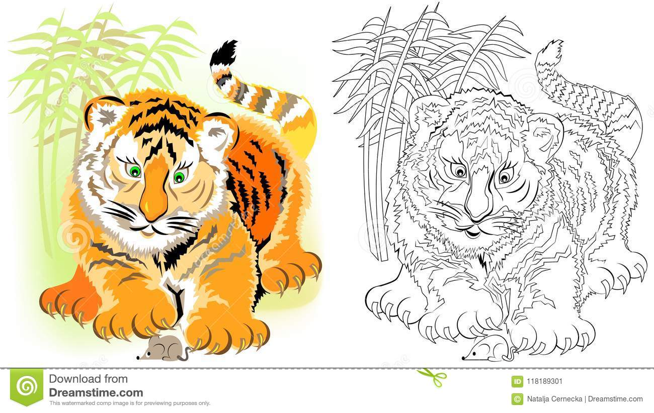 Tiger Stripped Mosaic Vector Background Cartoon Vector