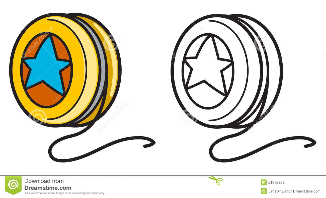 Colorful And Black And White Yoyo For Coloring Book Stock