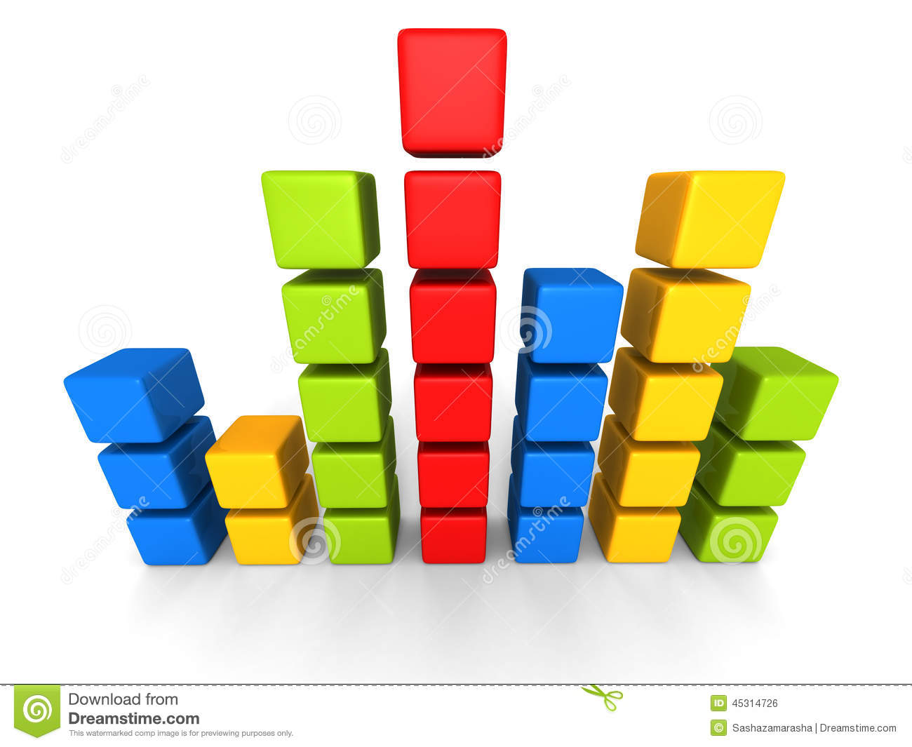 hight resolution of colorful block bar chart diagram on white background
