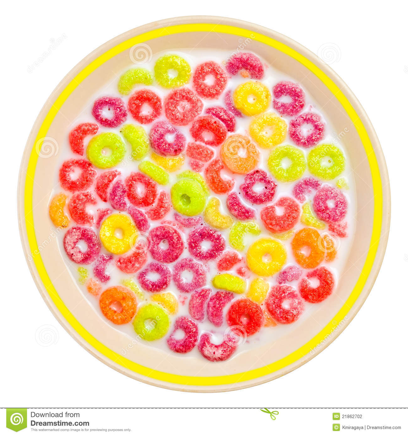 hight resolution of colorful cereal and milk on a white bowl