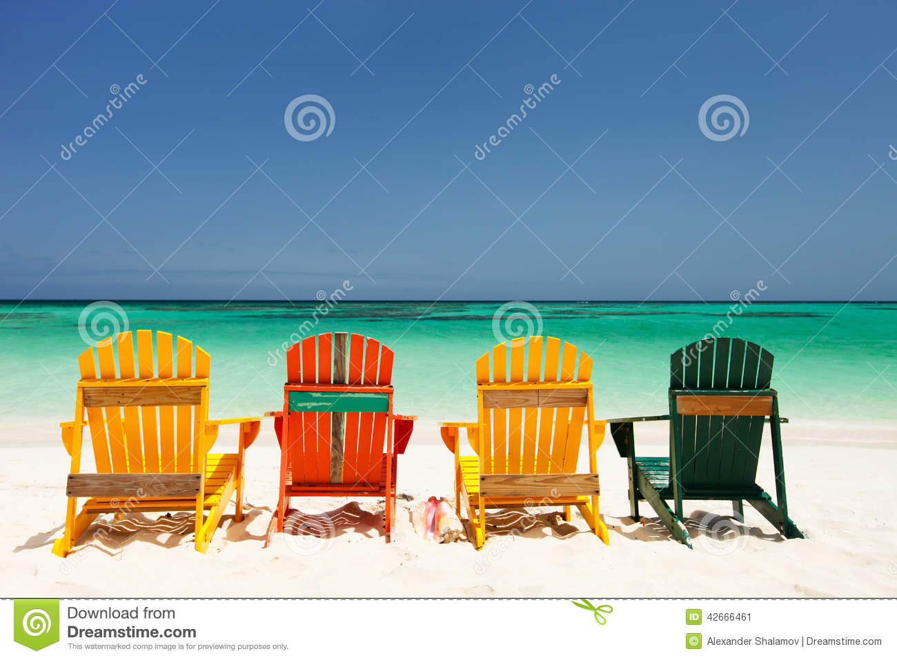 Colorful Wooden Chairs Colorful Chairs On Caribbean Beach Stock Photo Image