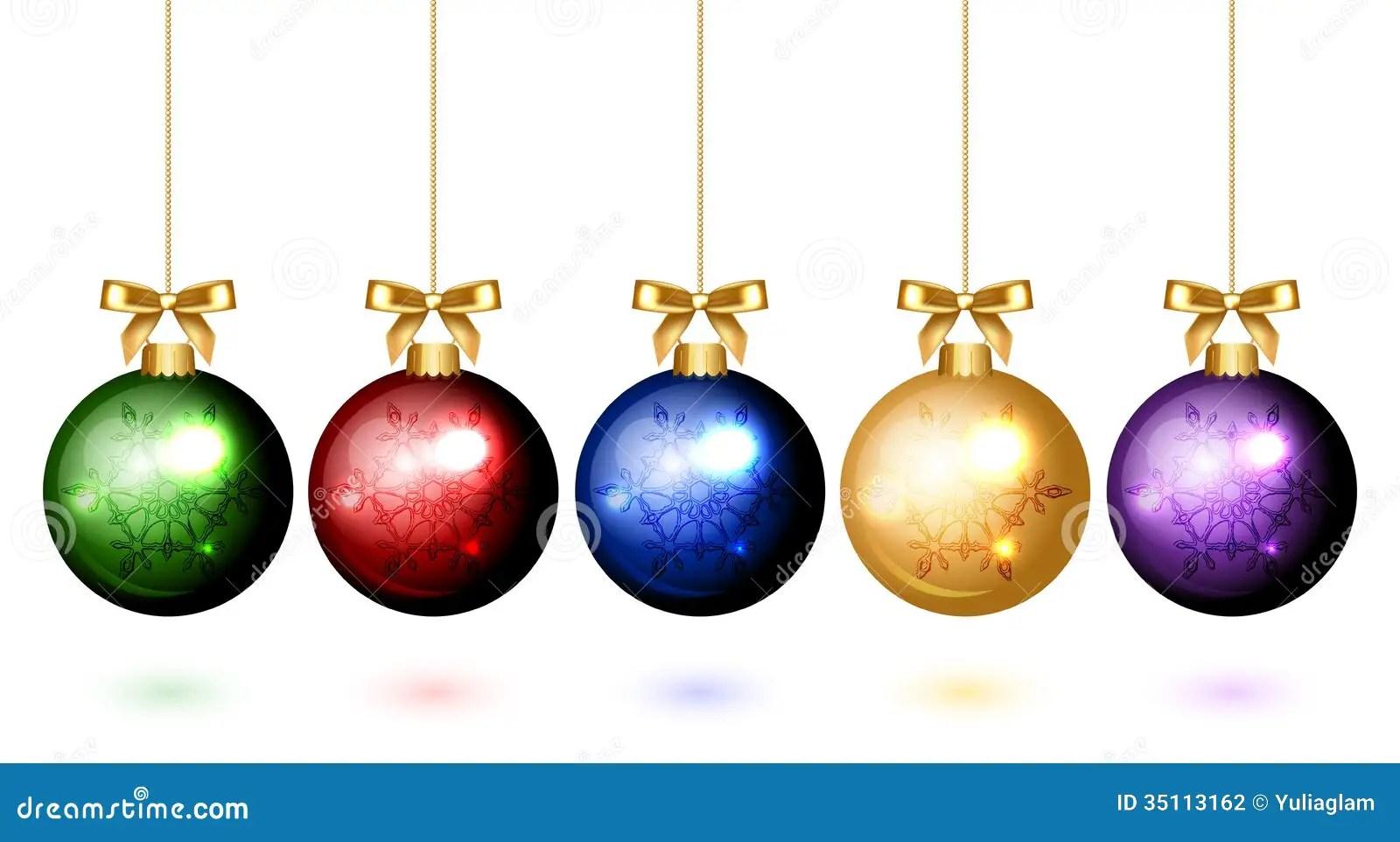 Colorful Christmas Balls With Snowflake Ornament Stock
