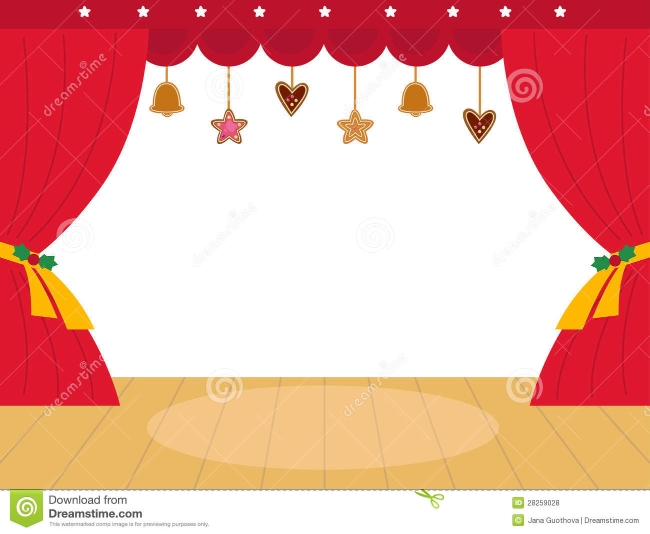 Colorful Christmas Theatre Podium Royalty Free Stock