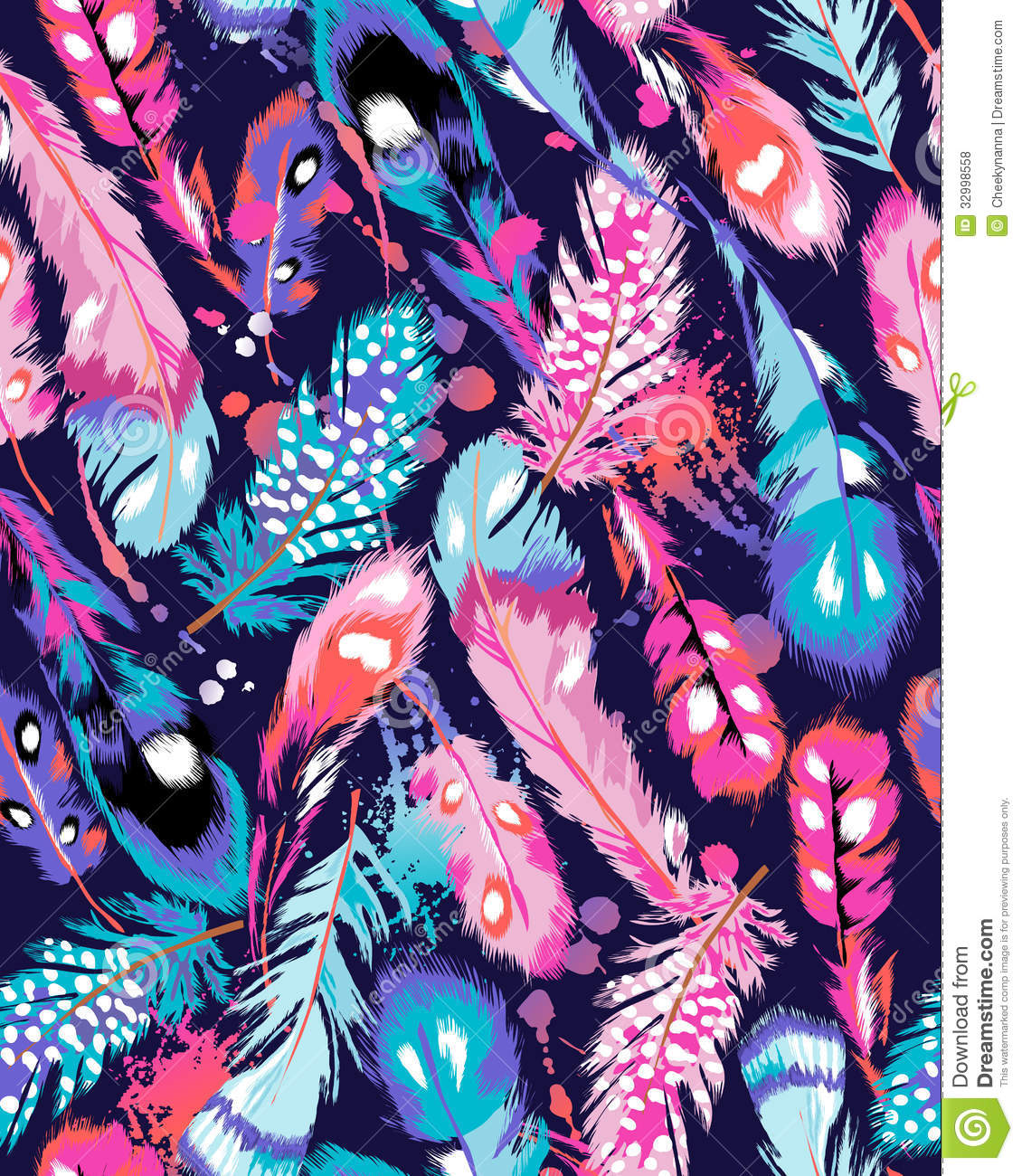 Neon Animal Print Wallpaper Colorful Feather Print Stock Vector Illustration Of Light