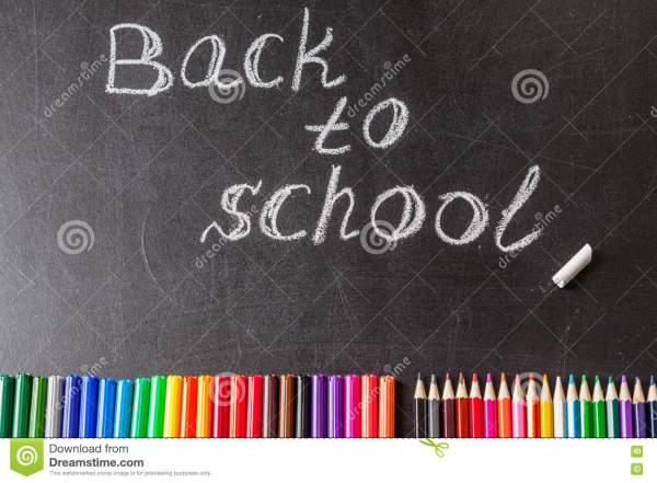 School Chalkboard And Color Pencils Royalty-free