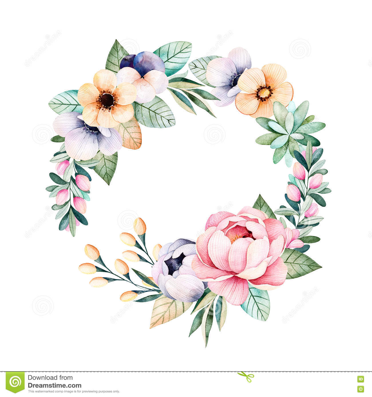 Colorful Floral Pastel Wreath With Rosesflowersleaves