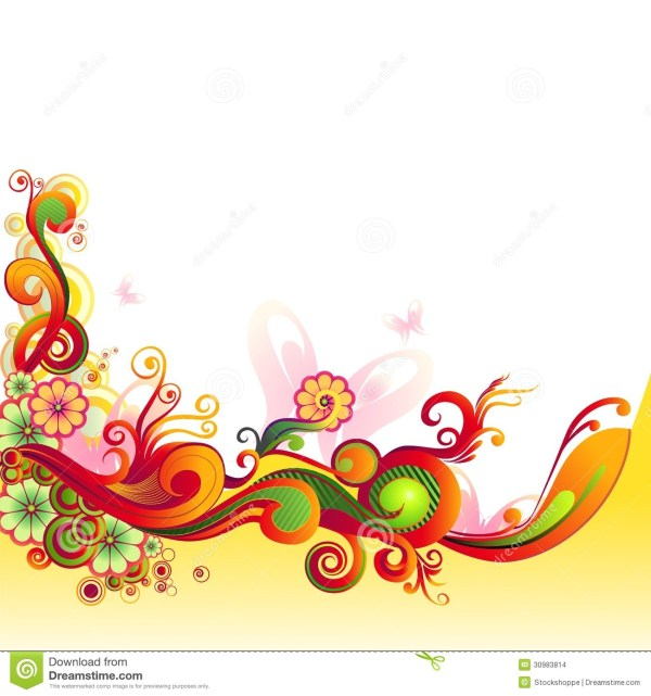 Colorful Floral Swirl Vector Graphics