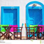 Colorful Greek Restaurant Table And Chairs In Front Of Iconic Bl Stock Image Image Of Cephalonia Home 53764267
