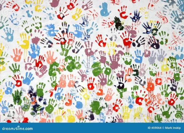Colorful handprints stock photo Image of print