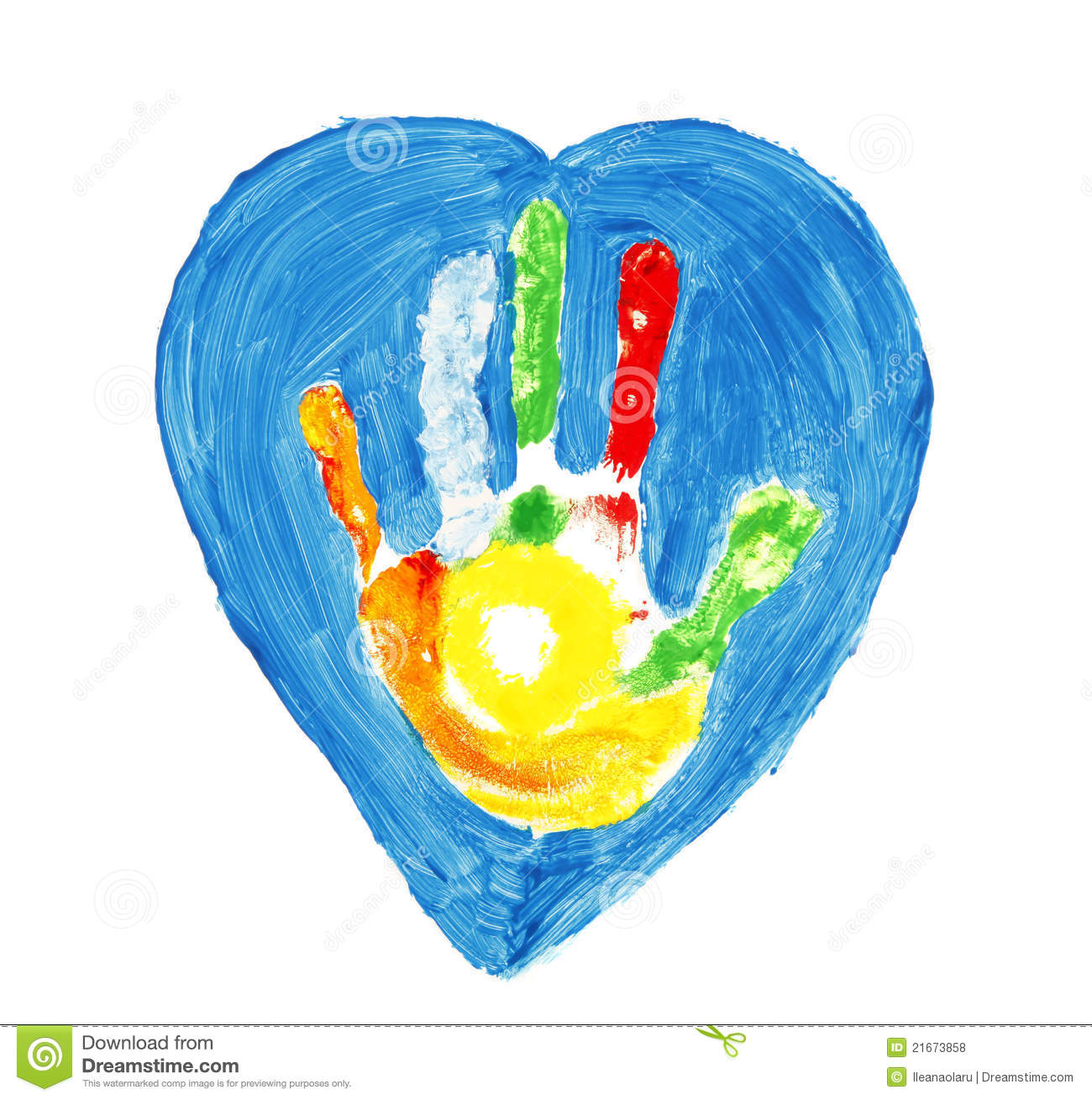 Colorful Hand Shape Inside Of A Heart Stock Photo