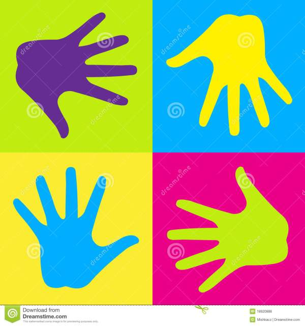 Colorful hands stock vector Illustration of colorful