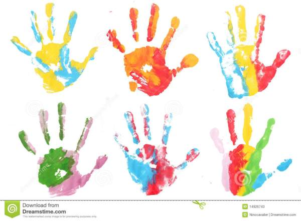 Colorful Hands Child Printed Stock Photos Image 14926743