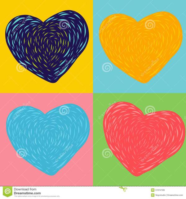 Colorful Heart Art Stock Vector. Illustration Of Clip - 51014106