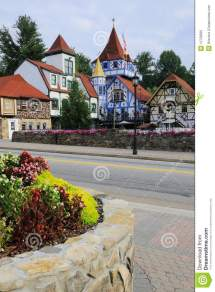 Colorful Houses In Bavarian Village Stock