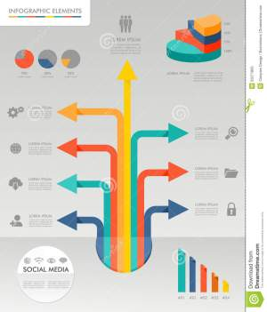 Colorful Infographic Diagram Social Media Icons Il Stock