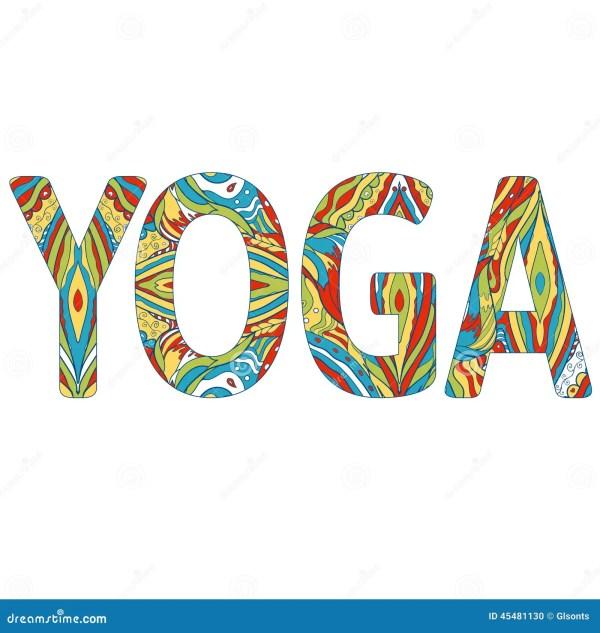 Colorful Inscription Yoga. Vector Yoga Illustration. Eps