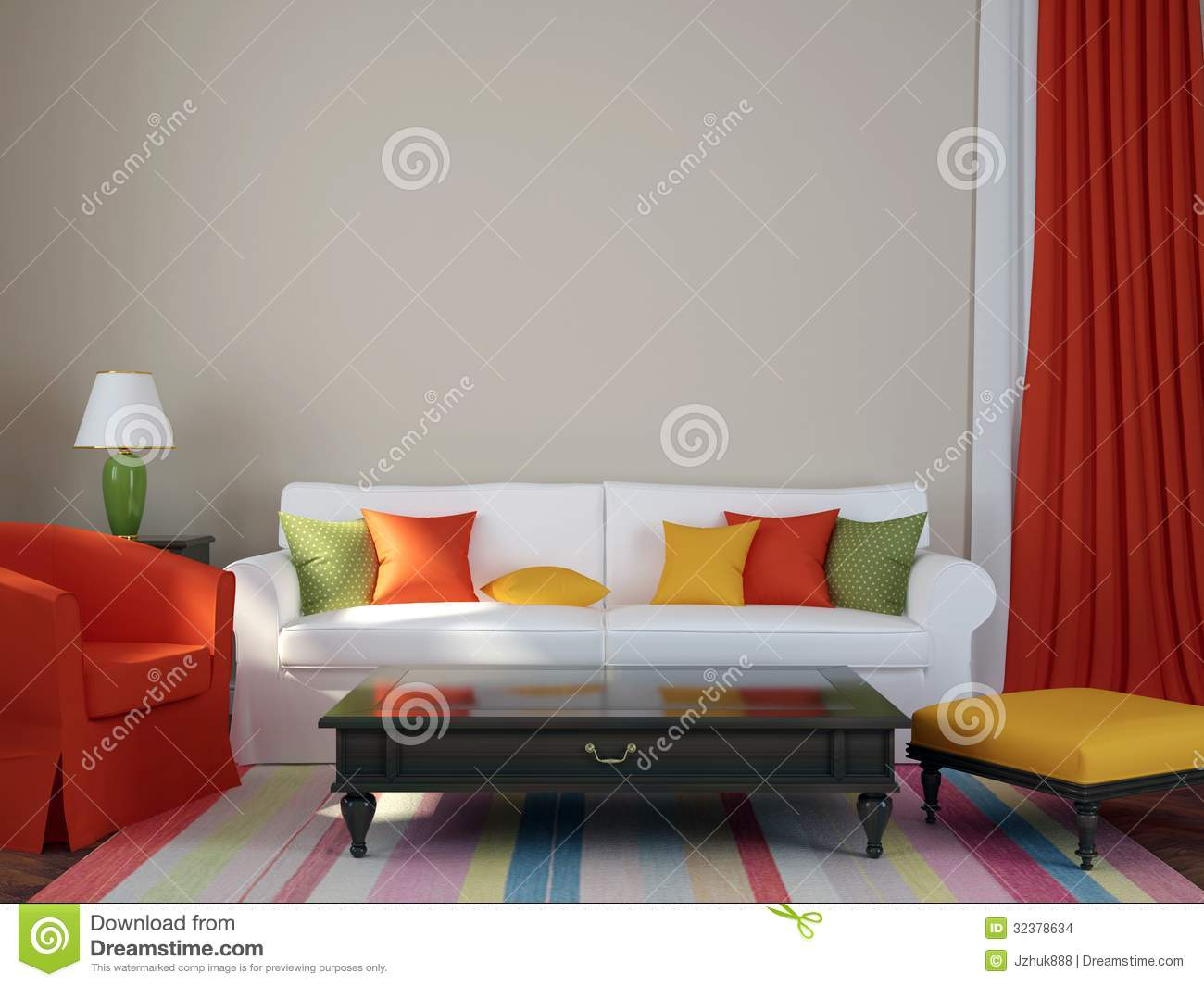 three cushion sofa chesterfield uk made colorful interior stock illustration. image of domestic ...