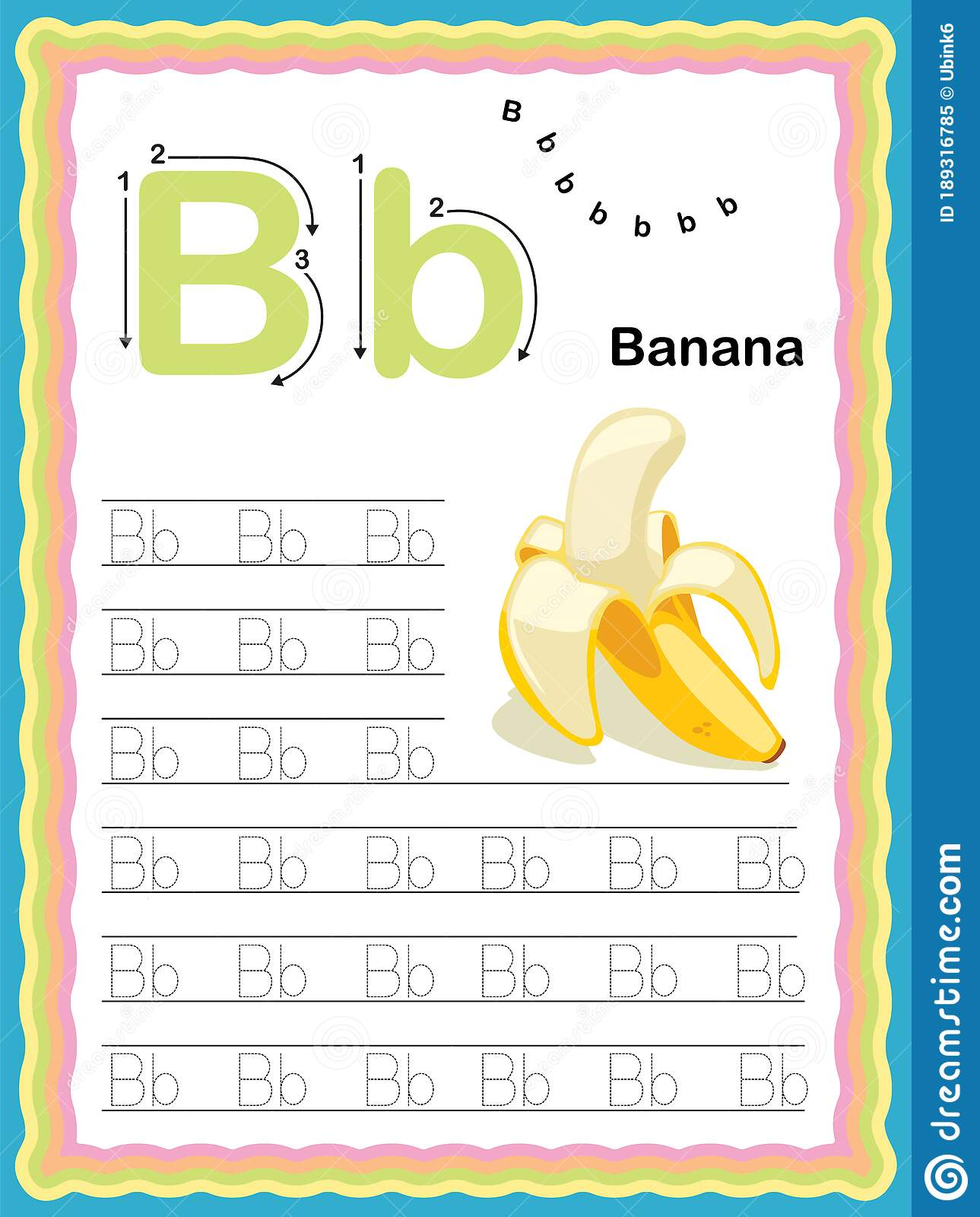 Colorful Letter B Uppercase And Lowercase Tracing