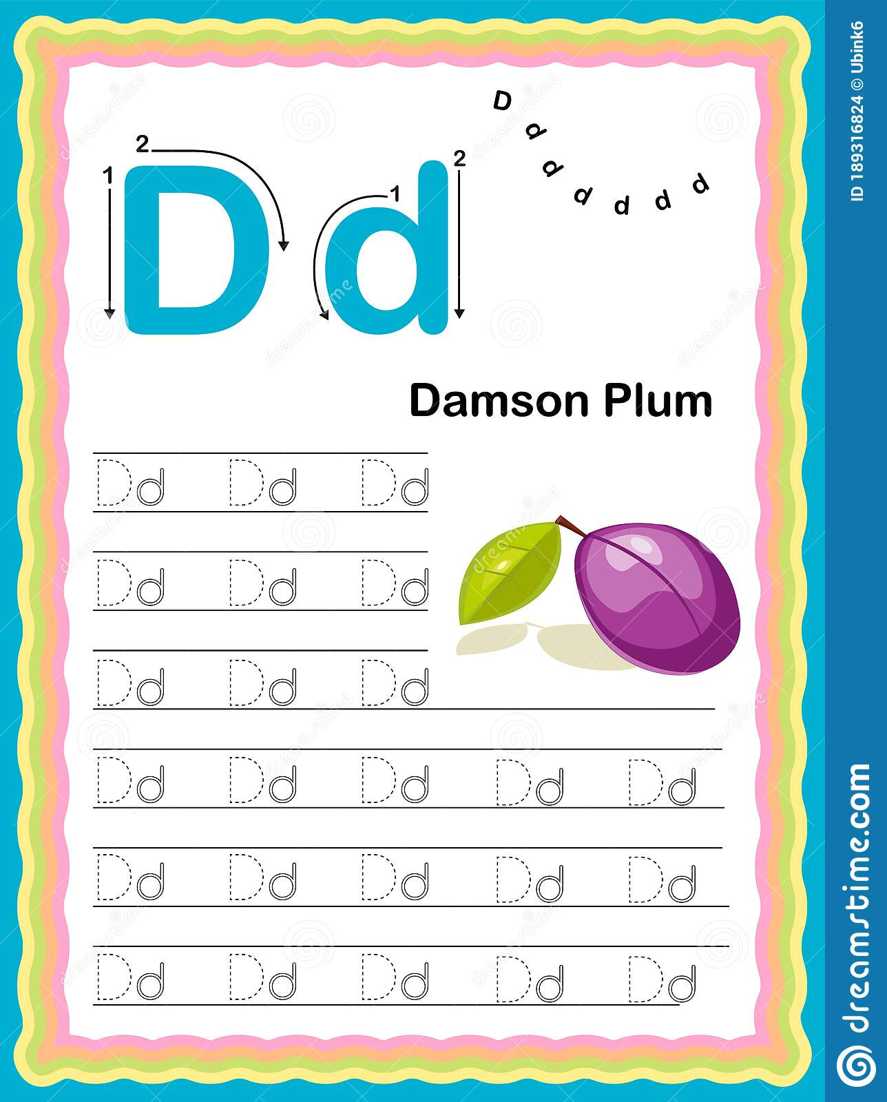 Colorful Letter D Uppercase And Lowercase Tracing