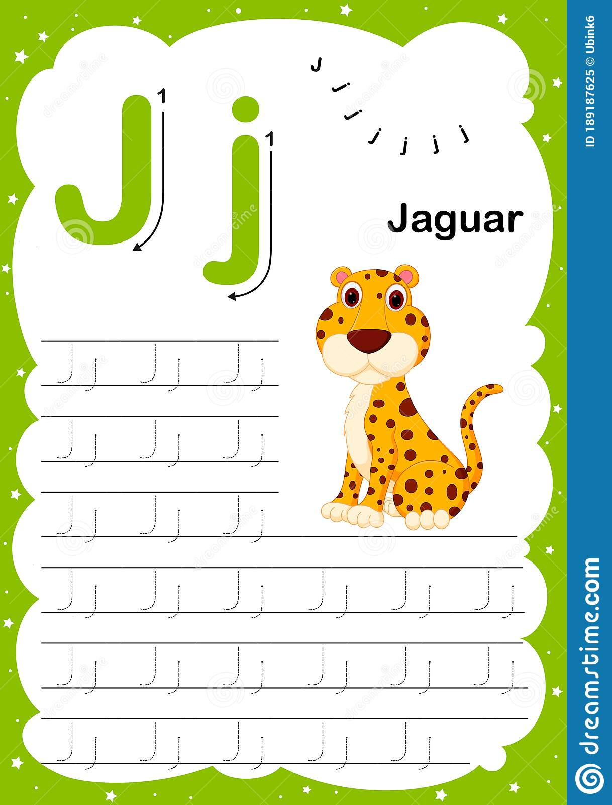Colorful Letter J Uppercase And Lowercase Alphabet A Z