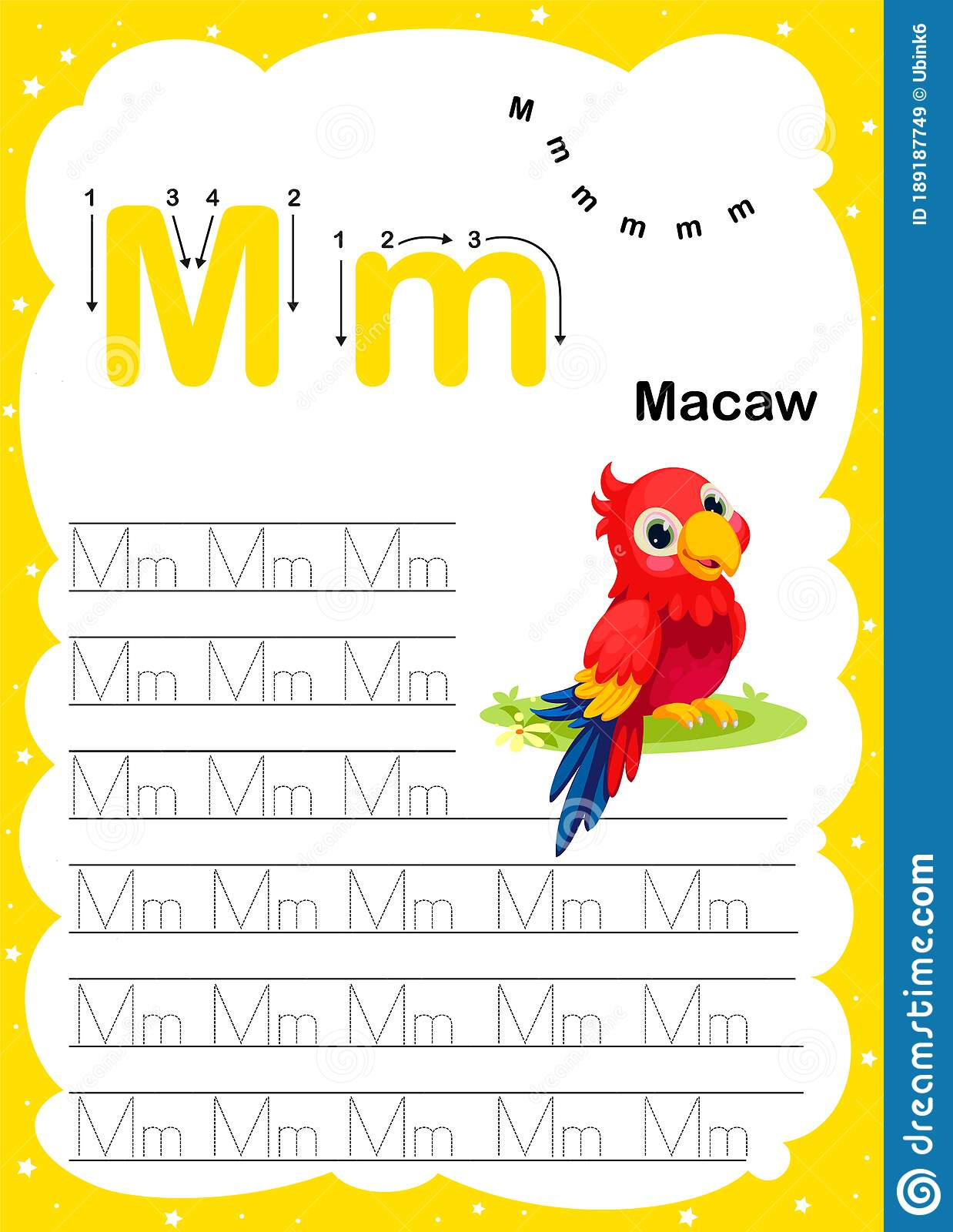 Colorful Letter M Uppercase And Lowercase Alphabet A Z