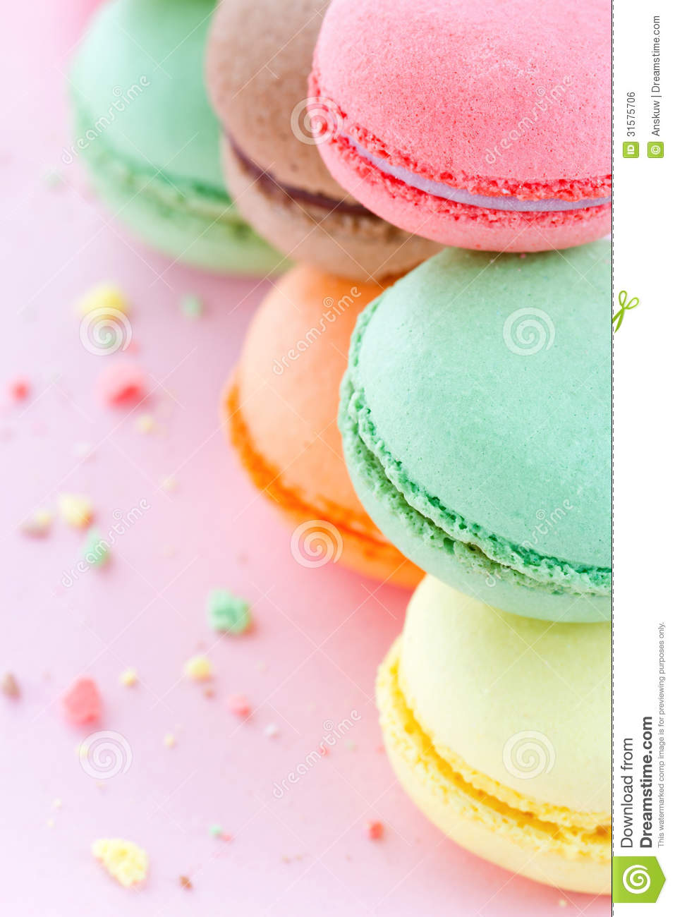 Cute Macaroons Wallpaper Colorful Macaroons On Pastel Pink Background Stock Photo