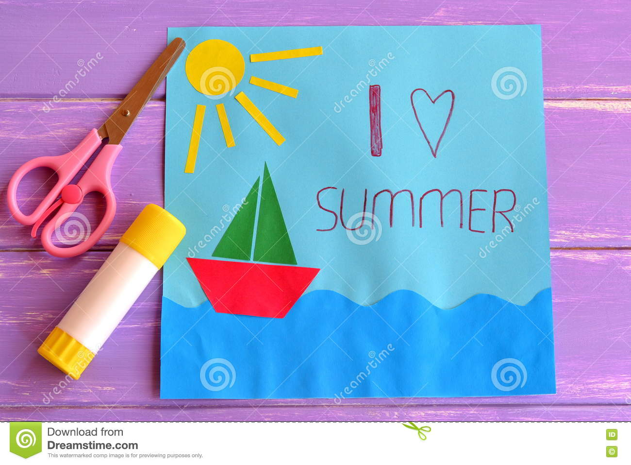 Colorful Paper Card With Ship Sea Sun And Words I Love