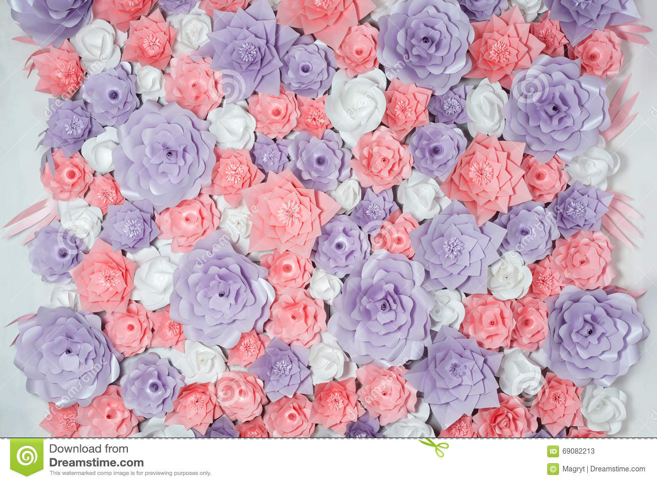Colorful Paper Flowers Background Floral Backdrop With